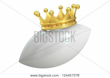 Gold crown rugby ball 3D rendering isolated on white background