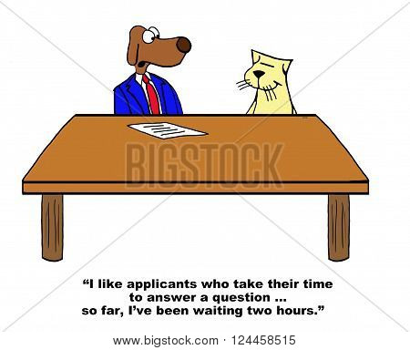 Business cartoon about an applicant carefully thinking before answering an interview question.