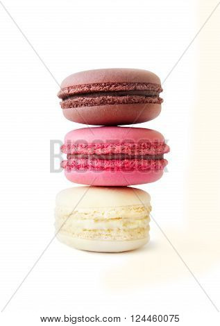 Sweet french macaroons dessert isolated on white background.