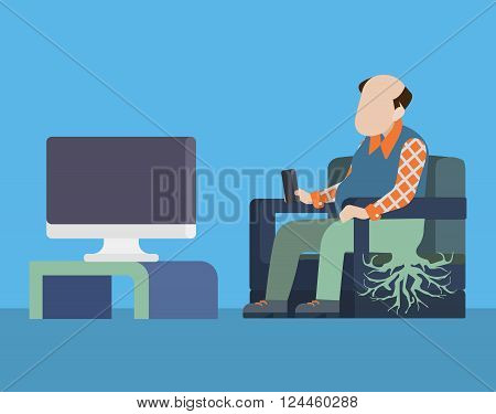 TV television mass media addiction social roots ass flat vector