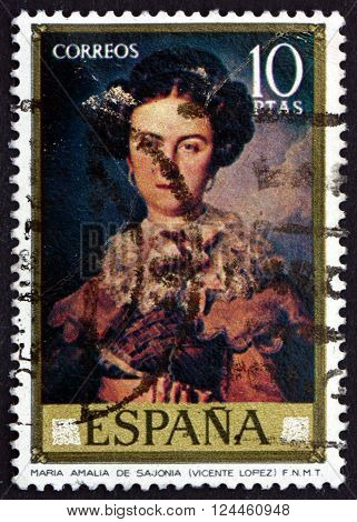 SPAIN - CIRCA 1973: a stamp printed in the Spain shows Maria Amalia de Sajonia Painting by Vicente Lopez circa 1973