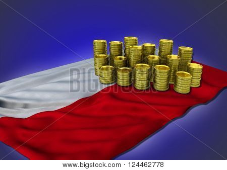 Polish economy concept with national flag and stack of golden coins on blue background - 3D render