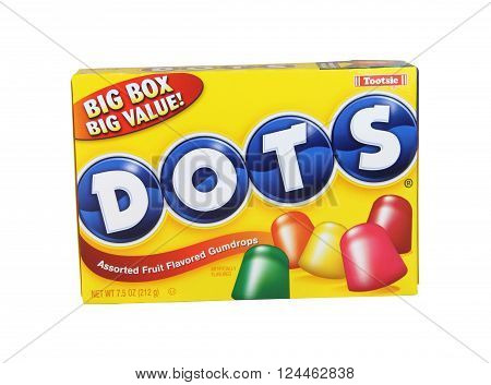 SPENCER WISCONSIN April4 2016: Box of Dots Gumdrop Candies Dots are a product of Tootsie Roll Industries founded in 1945