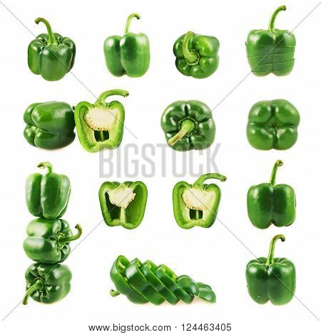 Set of multiple green sweet bell pepper compositions isolated over white background