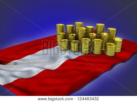 Austrian economy concept with national flag and stack of golden coins on blue background - 3D render