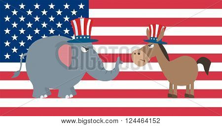 Angry Political Elephant Republican Vs Donkey Democrat Over USA Flag