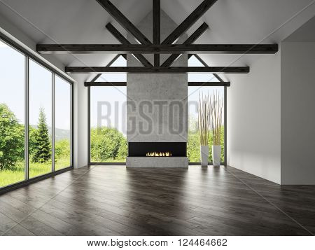 Interior empty room with rafters and fireplace 3D rendering