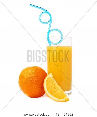 Tall glass filled with the orange juice with curved blue plastic drinking straw inside and fruits, composition isolated over the white background