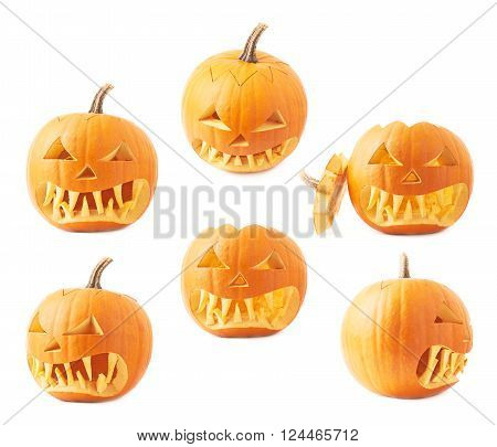 Jack-o'-lanterns orange halloween pumpkin head with the sharp teeth and scary facial expression, isolated over the white background, set of six foreshortenings