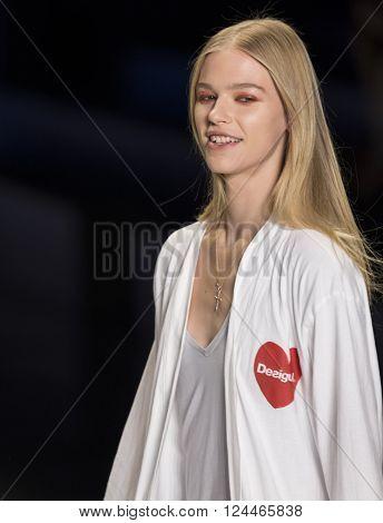 New York, NY - February 11, 2016: Sanna Backstrom walks the runway at rehearsal for Desigual Fall 2016 fashion show during New York Fashion Week