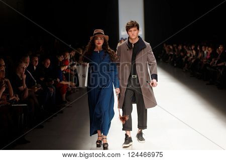 ST. PETERSBURG, RUSSIA - APRIL 1, 2016: Collections of young designers at the fashion show during Mercedes-Benz Fashion Day St. Petersburg. It is one of the most popular fashion events of the city