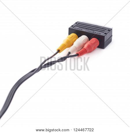 Composite video RCA cable connector isolated over the white background
