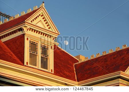 KEY WEST, FL - OCTOBER 24, 2015: The moon rises over the unique architecture of the historic Southernmost House October 24, 2015 in Key West, FL.