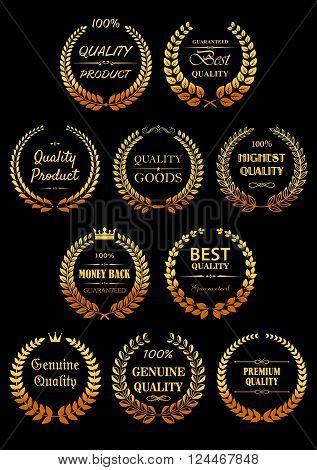 Luxury Quality Guarantees labels with shining golden laurel wreaths, decorated by ornamental text dividers and crowns