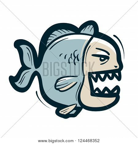 funny angry piranha isolated on white background. vector illustration