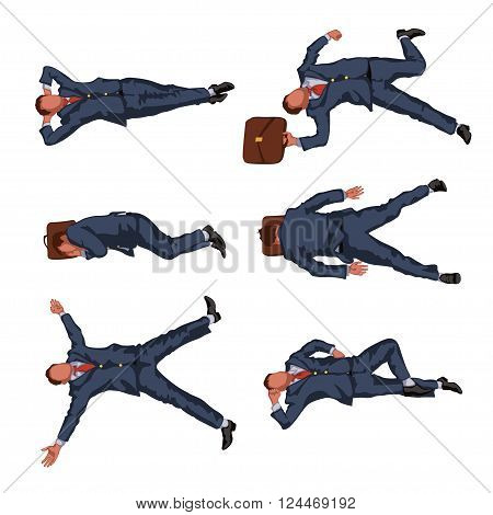 illustration of resting lying businessmen view from top set