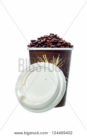 Take Away A Cup Of Coffee With Coffee Bean On White Background