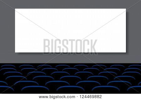 illustration of seats blue color with whte screen