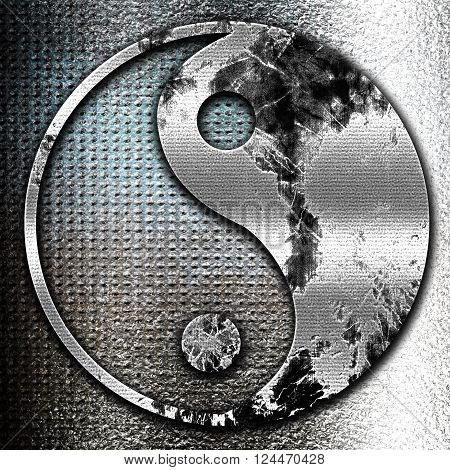Grunge metal Ying yang symbol with some soft smooth lines