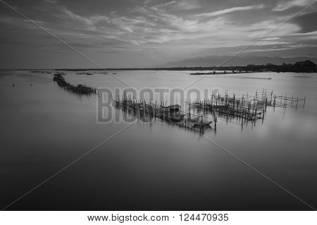 fish coop, Fish cages Bridge Laem Sing Chanthaburi, Thailand. image 16:9 Cropped.