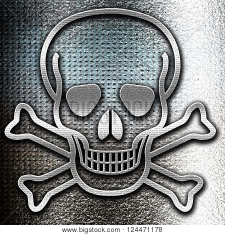 Grunge metal Poison sign background with some soft scratches and dents