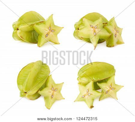 Averrhoa carambola starfruit served, composition isolated over the white background, set of four different foreshortenings