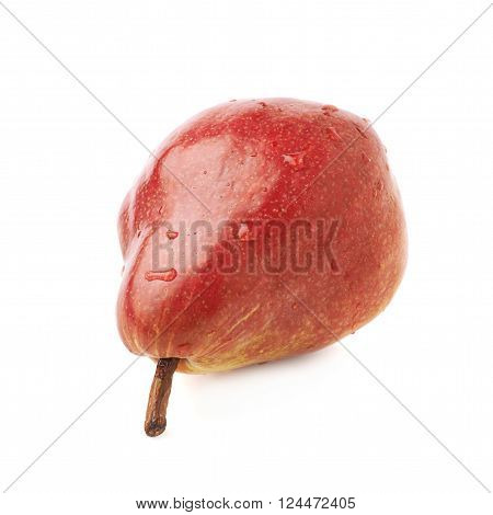 Red pear fruit covered with the water drops isolated over the white background
