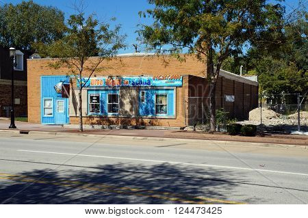 PLAINFIELD, ILLINOIS / UNITED STATES - SEPTEMBER 20, 2015: One may purchase scuba diving gear at Dive Right In Scuba in downtown Plainfield.
