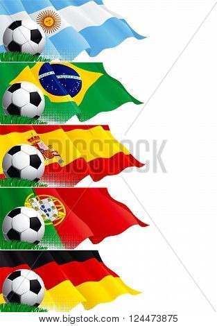 Set of soccer banners. Vector five banners of soccer ball and german, argentinean, portuguese, spanish, brazilian, spanish flags on green grass.