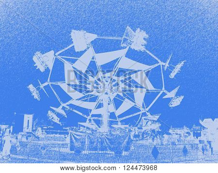 Flying ride abstract art a blue background