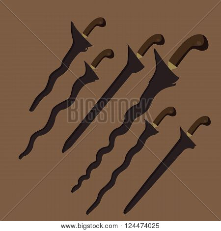 keris kris traditional weapon knife swords from Java Indonesia Malaysia Bali vector set