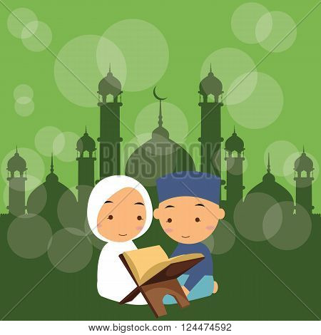 kids boy and girl read holy quran qoran Islam in mosque vector