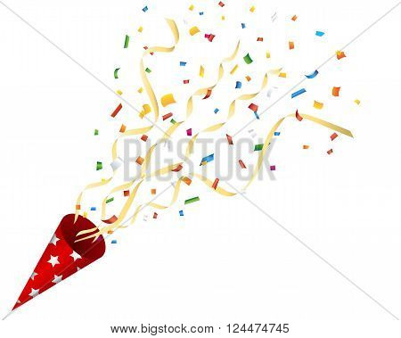 Exploding party cracker with confetti and streamer on a white background