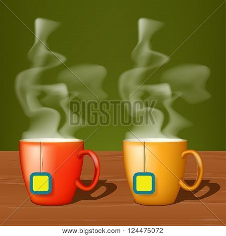 illustation of two cups of tea standing on wood surface with steam