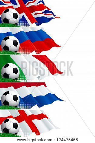 Set (2) of soccer banners. Vector five banners of soccer ball and british, french, russian, english, dutch flags on green grass.