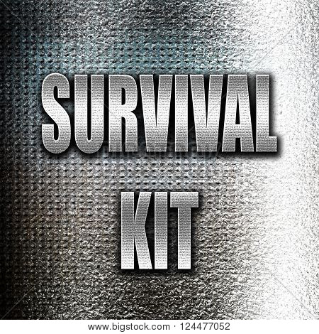 Grunge metal Survival kit sign with some soft flowing lines
