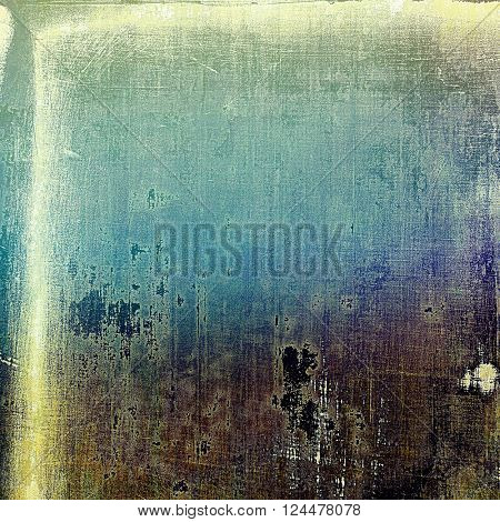 Abstract dirty texture or grungy background. With old style decorative elements and different color patterns: yellow (beige); brown; green; blue; purple (violet)
