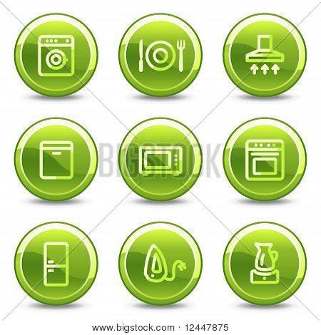 Home Appliances Icons, Green Circle Glossy Buttons