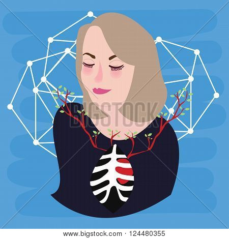 woman heart growing chest symbol of breathing inspiration happy peace vector