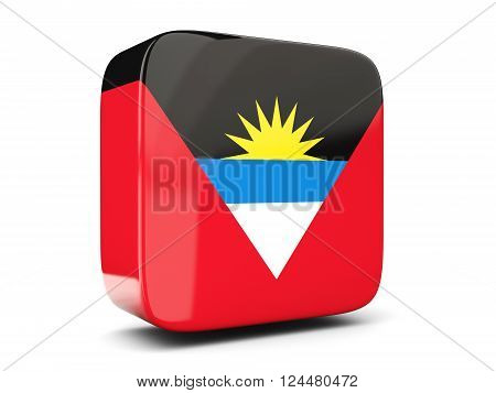 Square Icon With Flag Of Antigua And Barbuda Square. 3D Illustration