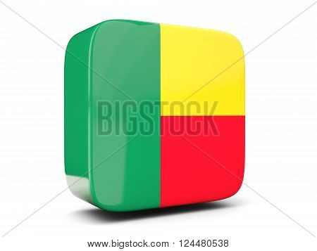 Square Icon With Flag Of Benin Square. 3D Illustration