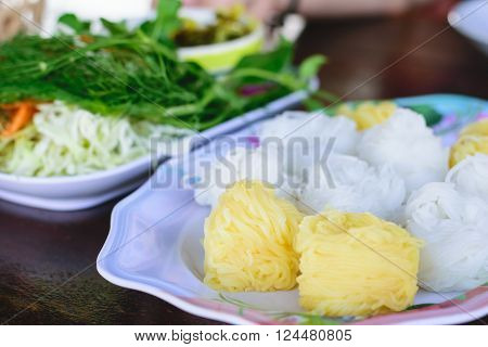 Colorful of Thai vermicelli rice noodles eaten with curryThai food