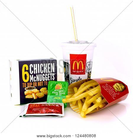 BANGKOK THAILAND-April 3 2016: McDonald's snack set. McDonald's Corporation is the world's largest chain of hamburger fast food restaurants serving around 68 million customers daily in 119 countries