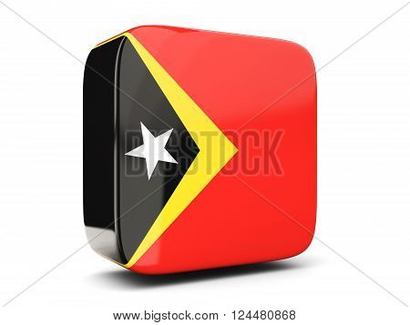 Square Icon With Flag Of East Timor Square. 3D Illustration