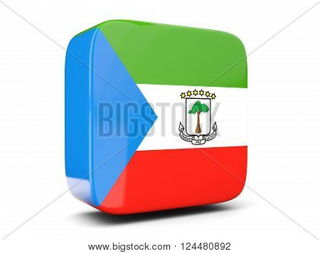 Square Icon With Flag Of Equatorial Guinea Square. 3D Illustration