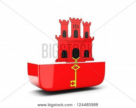 Square Icon With Flag Of Gibraltar Square. 3D Illustration