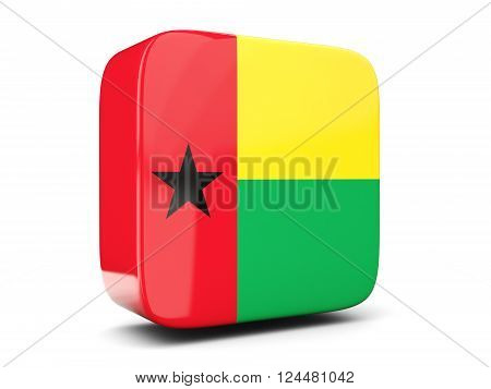 Square Icon With Flag Of Guinea Bissau Square. 3D Illustration