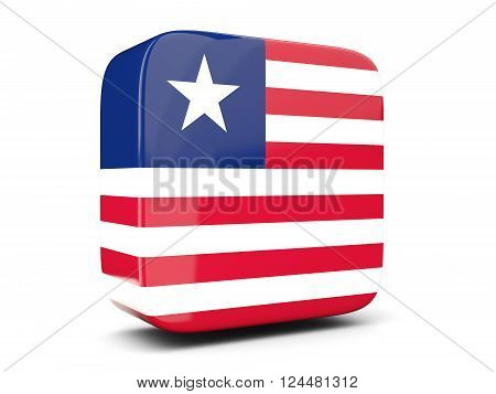 Square Icon With Flag Of Liberia Square. 3D Illustration