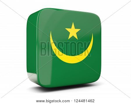 Square Icon With Flag Of Mauritania Square. 3D Illustration