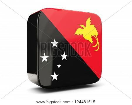 Square Icon With Flag Of Papua New Guinea Square. 3D Illustration